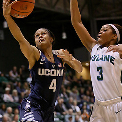 Feb 3, 2016; New Orleans, LA, USA; Connecticut Huskies guard Moriah Jefferson (4) shoots over Tulane Green Wave guard Kolby Morgan (3) during the first quarter of a game at the Devlin Fieldhouse. Mandatory Credit: Derick E. Hingle-USA TODAY Sports