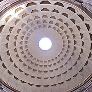 The interior dome of the famous Pantheon of Rome, Italy.