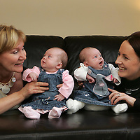 Pictures for Mason Media Maternity Nurse Press Release...<br /> Tinies Maternity Nurse Linda Maguire, left,  with new mum Liz Hunter, and her 7 week old twins Amy (in pink) and Lucy at Liz's home in Abernethy, Perthshire.<br /> <br /> Picture by John Lindsay<br /> COPYRIGHT: Perthshire Picture Agency.<br /> Tel. 01738 623350 / 07775 852112.