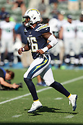 Los Angeles Chargers cornerback Casey Hayward (26) chases the action during pregame warmups before the 2017 NFL week 1 preseason football game against the Seattle Seahawks, Sunday, Aug. 13, 2017 in Carson, Calif. The Seahawks won the game 48-17. (©Paul Anthony Spinelli)