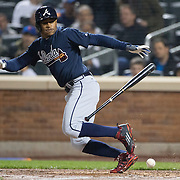 NEW YORK, NEW YORK - MAY 03:  Mallex Smith #17 of the Atlanta Braves makes a bunt attempt during the Atlanta Braves Vs New York Mets MLB regular season game at Citi Field on May 03, 2016 in New York City. (Photo by Tim Clayton/Corbis via Getty Images)