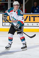 KELOWNA, CANADA -FEBRUARY 5: Riley Stadel #3 of the Kelowna Rockets stands not the ice against the Red Deer Rebels on February 5, 2014 at Prospera Place in Kelowna, British Columbia, Canada.   (Photo by Marissa Baecker/Getty Images)  *** Local Caption *** Riley Stadel;