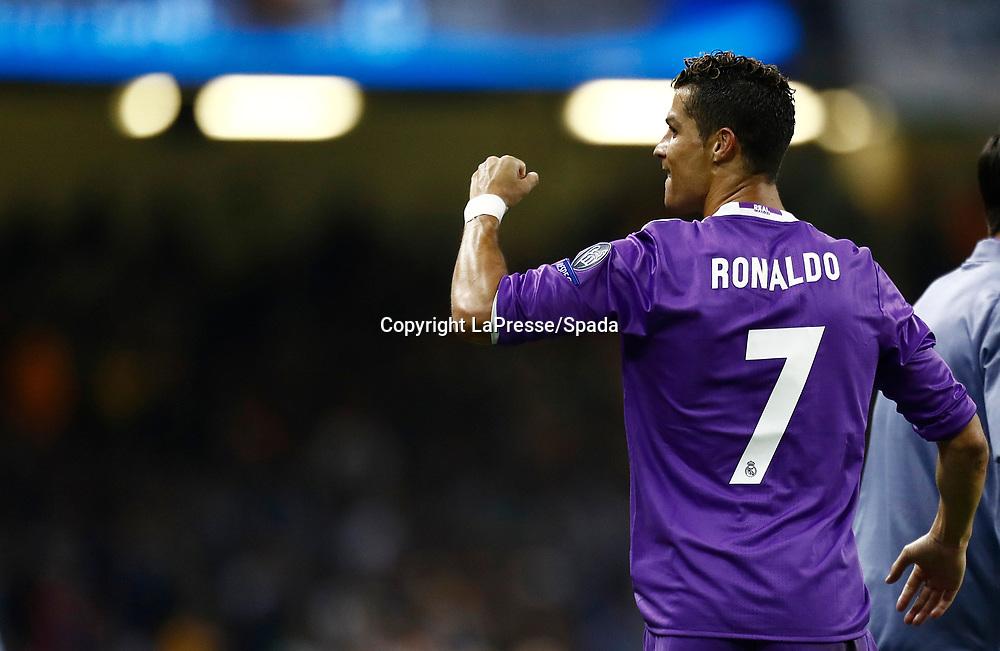 Foto LaPresse - Spada<br /> 03 Giugno  2017 Cardiff  ( Galles  )<br /> Sport Calcio<br /> Juventus - Real Madrid <br /> Champions League 2016 2017 - Finale<br /> Nella foto:  esultanza dopo il gol c. ronaldo 1-3<br /> <br /> Photo LaPresse - Spada<br /> 03, June  2017 Cardiff ( Wales )<br /> Sport Soccer<br /> Juventus -  Real Madrid  <br /> Champions League 2016 2017 - Final <br /> In the pic:  celebrates after scoring c. ronaldo 1-3