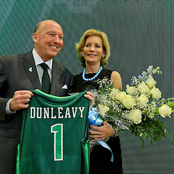Mar 29, 2016; New Orleans, LA, USA; Tulane Green Wave head coach Mike Dunleavy Sr with his wife Emily Dunleavy following a press conference at the Delvin Fieldhouse. Mandatory Credit: Derick E. Hingle-USA TODAY Sports