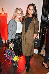 Left to right, PIPS TAYLOR and ROXIE NAFOUSI at the Cointreau launch for Yumi by Lilah Parsons SS/16 collection held at 15 Bateman Street, London on 1st December 2015