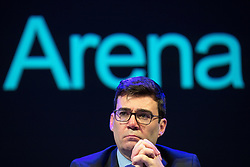 © Licensed to London News Pictures. 27/03/2018. Salford, UK. Greater Manchester Mayor ANDY BURNHAM . The Kerslake Report in to the terrorist bombing of an Ariana Grande concert at the Manchester Arena on 22nd May 2017 , ordered by Greater Manchester Metro Mayor Andy Burnham , is published at a press conference at the University of Salford , at Media City . Amongst praise for many connected with the events, the report also highlights failings in communication at Greater Manchester Fire and Rescue on the night and disreputable behaviour by some sections of the media in the aftermath of the attack . Photo credit: Joel Goodman/LNP