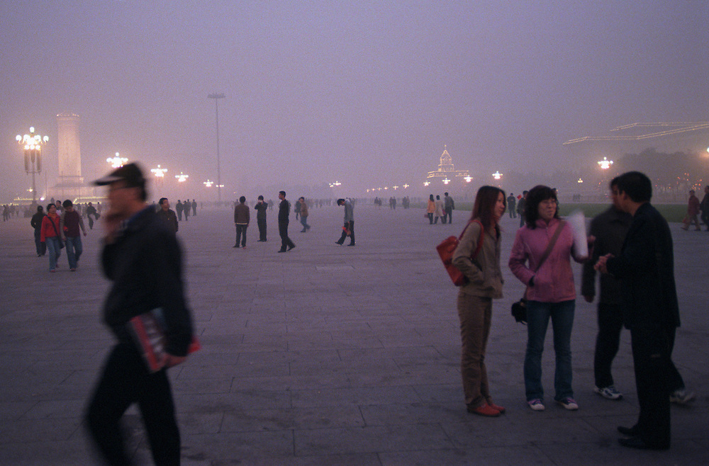 A shroud of smog envelopes Tiananmen Square. Seven of the ten most polluted cities in the world are located in China, due primarily to the country's dependence on coal for energy and dilapidated heavy industries..Beijing, China. 05/11/2005.Photo © J.B. Russell