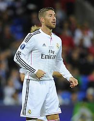 Real Madrid's Sergio Ramos - Photo mandatory by-line: Joe Meredith/JMP - Mobile: 07966 386802 12/08/2014 - SPORT - FOOTBALL - Cardiff - Cardiff City Stadium - Real Madrid v Sevilla - UEFA Super Cup