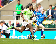 LONDON, ENGLAND - Sunday 11 May 2014, Seabelo Senatla of South Africa on his way to the try line during the Plate final match between South Africa and Kenya at the Marriott London Sevens rugby tournament being held at Twickenham Rugby Stadium in London as part of the HSBC Sevens World Series.<br /> Photo by Roger Sedres/ImageSA