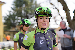 Sheyla Guttierez (Cylance) on her way to sign in at Trofeo Alfredo Binda 2017. A 131 km road race on March 19th 2017, from Taino to Cittiglio, Italy. (Photo by Sean Robinson/Velofocus)