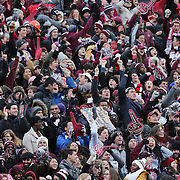 Harvard fans react to a touchdown during the Harvard Vs Yale, College Football, Ivy League deciding game, Harvard Stadium, Boston, Massachusetts, USA. 22nd November 2014. Photo Tim Clayton