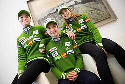Spela Rogelj, Ema Klinec and Ursa Bogataj during press conference of Slovenian Women Ski Jumping team before new season 2014/15, on December 2, 2014 in Kristalna palace BTC, Ljubljana, Slovenia. Photo by Vid Ponikvar / Sportida