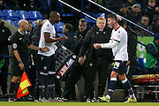 Bolton Wanderers forward Gary Madine  is substituted after suffering a cut head bringing on Bolton Wanderers forward Shola Ameobi during the Sky Bet Championship match between Bolton Wanderers and Milton Keynes Dons at the Macron Stadium, Bolton, England on 23 January 2016. Photo by Simon Davies.