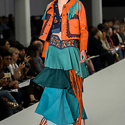 Designer Sophie Macdonald showcases lastest collection of Bath Spa University at the Graduate Fashion Week 2018, 4 June 4 2018 at Truman Brewery, London, UK.