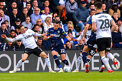 Harry Wilson of Derby County sticks out a foot to try and stop an attack from Jack Harrison of Leeds United - Mandatory by-line: Ryan Crockett/JMP - 11/05/2019 - FOOTBALL - Pride Park Stadium - Derby, England - Derby County v Leeds United - Sky Bet Championship Play-off Semi Final 1st Leg