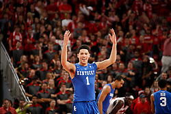 Kentucky guard Devin Booker cheers with the crowd as Kentucky defeated Louisville, 58-50.<br /> <br /> The University of Louisville hosted the University of Kentucky, Saturday, Dec. 27, 2014 at Yum Center in Louisville. <br /> <br /> Photo by Jonathan Palmer