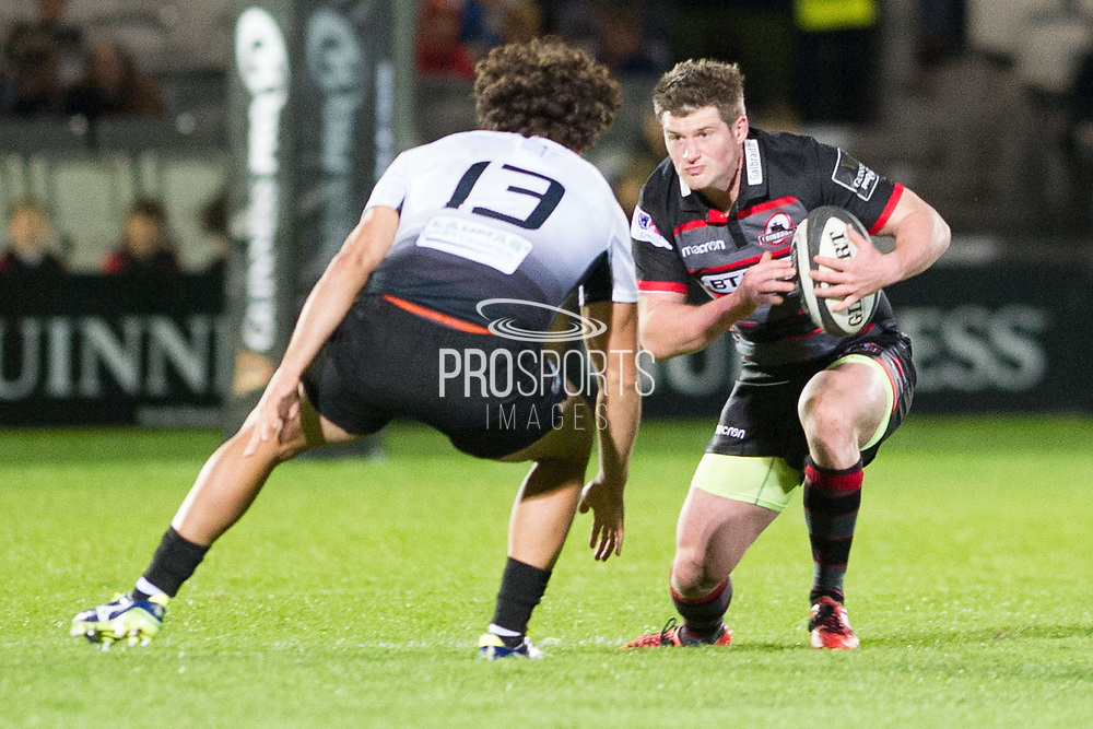 James Johnstone faces off against Tommaso Boni during the Guinness Pro 14 2017_18 match between Edinburgh Rugby and Zebre at Myreside Stadium, Edinburgh, Scotland on 6 October 2017. Photo by Kevin Murray.