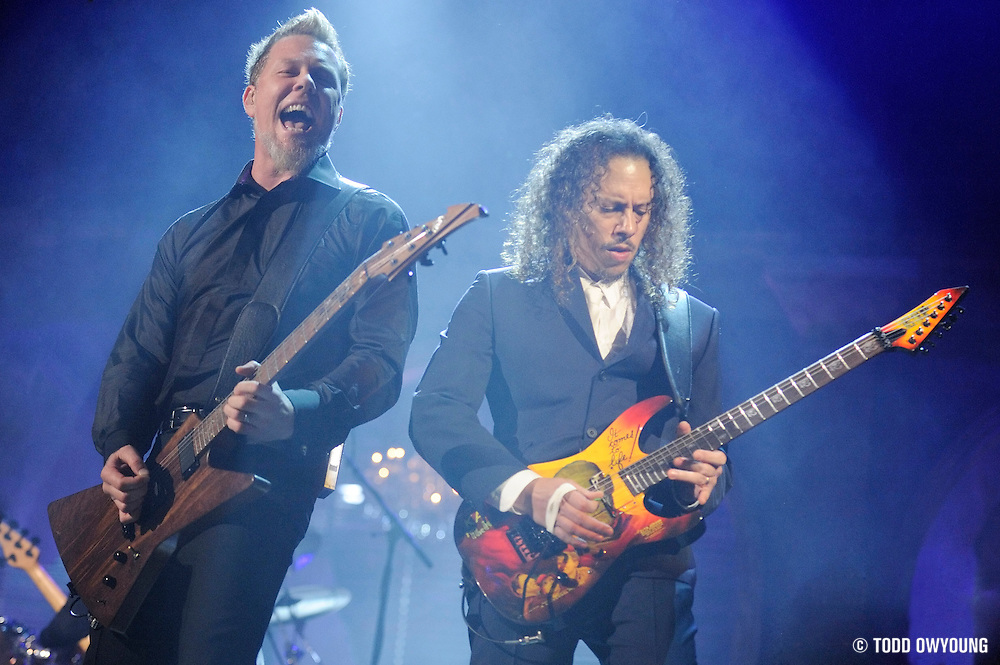 Metallica performing at the Rock & Roll Hall of Fame Induction Ceremony in Cleveland, Ohio on May 5, 2009.