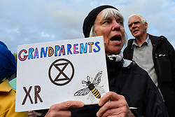 © Licensed to London News Pictures. 15/10/2019. LONDON, UK. A climate activists from Extinction Rebellion during a Grandparents protest on the Queen Victoria Memorial outside Buckingham Palace.  Activists are calling on the government to take immediate action against the negative effects of climate change.  Photo credit: Stephen Chung/LNP