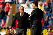 Charlton Athletic Manager Lee Bowyer has words with the 4th official during the EFL Sky Bet League 1 Play Off second leg match between Shrewsbury Town and Charlton Athletic at Greenhous Meadow, Shrewsbury, England on 13 May 2018. Picture by Simon Davies.
