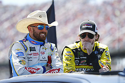 April 29, 2018 - Talladega, Alabama, United States of America - Austin Dillon (3) and Ryan Blaney (12) hang out on pit before the GEICO 500 at Talladega Superspeedway in Talladega, Alabama. (Credit Image: © Chris Owens Asp Inc/ASP via ZUMA Wire)
