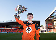 St.John's captain Nathan Cooney with the Dundee United Cup (sponsored by Arab Trust) at Tannadice, Dundee<br /> <br /> <br />  - &copy; David Young - www.davidyoungphoto.co.uk - email: davidyoungphoto@gmail.com