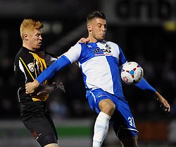 Bristol Rovers' Alex Wall on the ball under pressure from Gateshead's James Curtis - Photo mandatory by-line: Dougie Allward/JMP - Mobile: 07966 386802 - 19/12/2014 - SPORT - football - Bristol - Memorial Stadium - Bristol Rovers v Gateshead  - Vanarama Conference