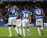 Jay Emmanuel-Thomas (QPR midfielder) celebrating scoring QPR' equilizer during the Capital One Cup match between Queens Park Rangers and Carlisle United at the Loftus Road Stadium, London, England on 25 August 2015. Photo by Matthew Redman.