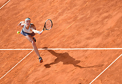 May 6, 2019 - Madrid, Spain -  Czech tennis player  PETRA KVITOVA  in action against K. Mladenovic during the Mutua Madrid Open 2019 at the Magic Box . Kvitova won  6-3, 7-6 (5). (Credit Image: © Panoramic via ZUMA Press)