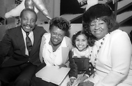 (1985) (Right) Albertina Walker and (L) Jerry Butler greet new gospel singer Deleon Richards and her mother Deborah Richards.