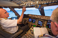 Atlas Air Worldwide, Miami, Florida Training Facility, Boeing 777 Flight Simulator, cockpit, location, interior production