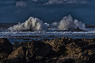 Water splash and rocks at the Atlantic coast, Essaouira, Morocco.