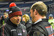 Richard Cocerill congratulates Neil Cochrane after winning the Guinness Pro 14 2017_18 match between Edinburgh Rugby and Glasgow Warriors at Myreside Stadium, Edinburgh, Scotland on 28 April 2018. Picture by Kevin Murray.