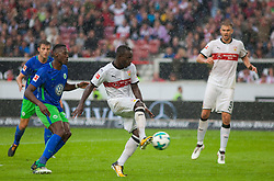 September 16, 2017 - Stuttgart, Germany - Stuttgarts Chadrac Akolo scores the 1:0 / Bundesliga match VfB Stuttgart vs VfL Wolfsburg, September 16, 2017. (Credit Image: © Bartek Langer/NurPhoto via ZUMA Press)