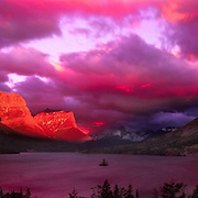 Sunrise overlooking St. Mary Lake and Wild Goose Island in Glacier National Park, MT.