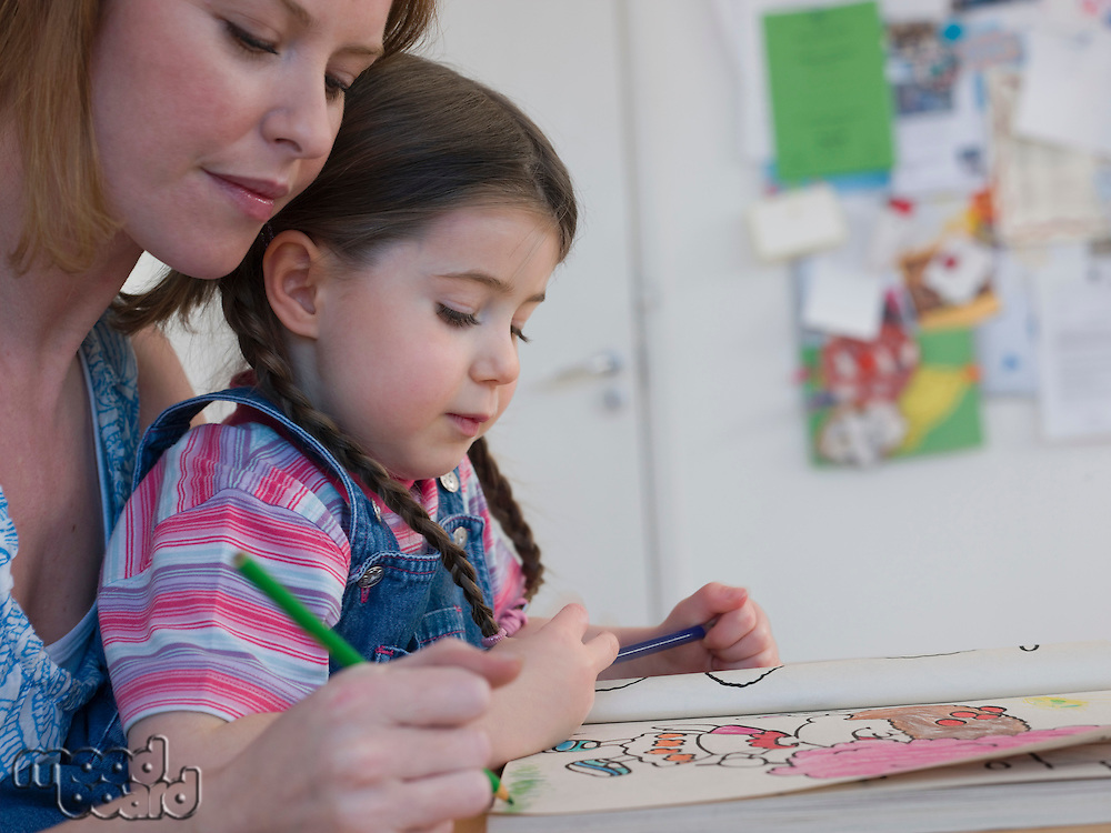 Mother Coloring With Daughter
