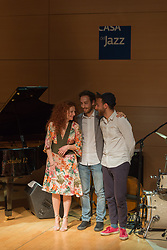April 30, 2017 - Rome, Italy - The Italian pianist performed live at the Casa del Jazz in Rome on 30/4/2017 to celebrate the birthday of the 'Casa' and the International Jazz Day. With her on the stage Luca Fattorini at the double bass and Francesco Ciniglio on drums (Credit Image: © Leo Claudio De Petris/Pacific Press via ZUMA Wire)