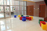 Atherton Elementary features flexible learning spaces near the school's stairwells.