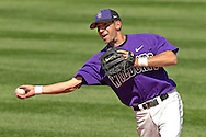 Kansas State second basemen Eddie Vasquez throws to first base for the out against Texas Tech at Tointon Stadium in  Manhattan, Kansas, April 1, 2007.  Kansas State defeated Texas Tech 7-3.