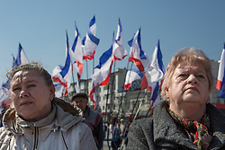 Crimea the day before the referendum. Crimean ladies in a Pro Russian rally with Crimean flags in the background at Simferopol's Lenin Square. Simferopol, . Saturday, 15th March 2014. Picture by Daniel Leal-Olivas / i-Images