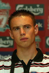 LIVERPOOL, ENGLAND - Thursday, July 10, 2003: Liverpool FC's new signing Anthony Le Tallec at a press conference at Anfield. (Pic by David Rawcliffe/Propaganda)
