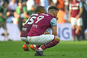 Aston Villa striker Scott Hogan (9) and Aston Villa striker (on loan from Bournemouth) Lewis Grabban (45) down on their knees, dejected during the EFL Sky Bet Championship play-off final match between Fulham and Aston Villa at Wembley Stadium, London, England on 26 May 2018. Picture by Dennis Goodwin.