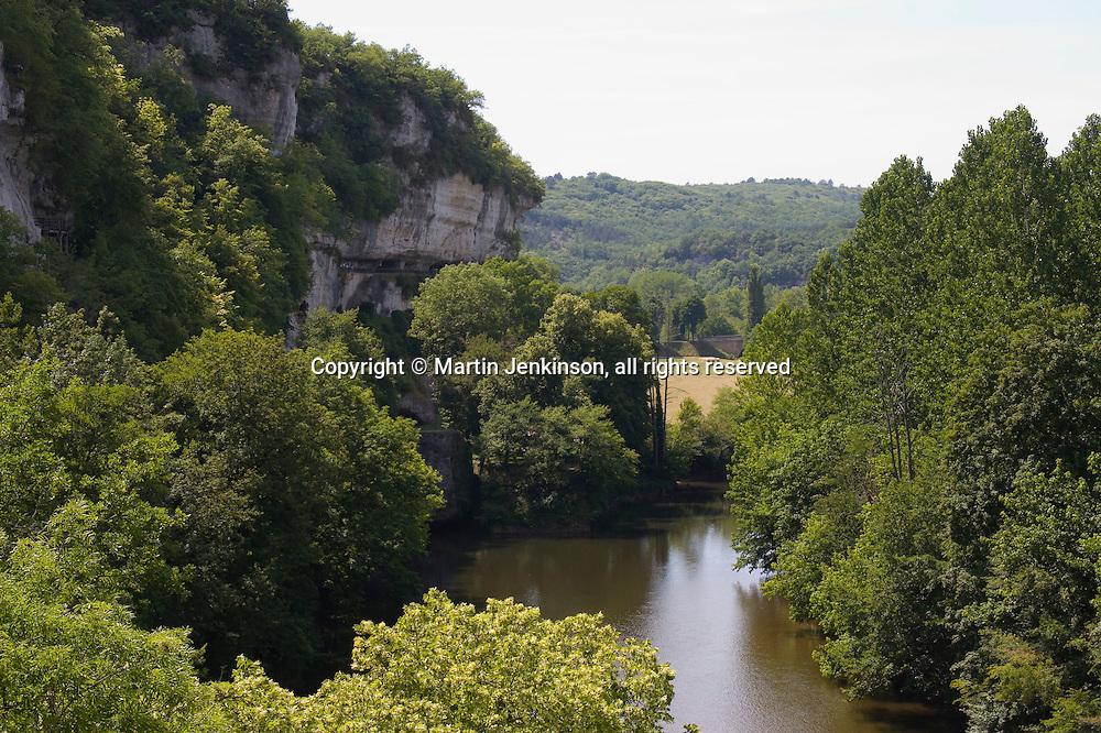La Roque Saint Christophe a troglodyte site in the cliff above the Vezere river ..., Travel, lifestyle