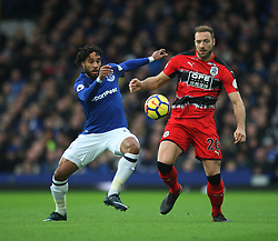 Ashley Williams of Everton (L) and Laurent Depoitre of Huddersfield Town in action - Mandatory by-line: Jack Phillips/JMP - 02/12/2017 - FOOTBALL - Goodison Park - Liverpool, England - Everton v Huddersfield Town - English Premier League