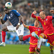 PARIS, FRANCE - September 10:  Moussa Sissoko #17 of France hits the bar with a powerful header as he beats Ildefons Lima #6 of Andorra to the ball during the France V Andorra, UEFA European Championship 2020 Qualifying match at Stade de France on September 10th 2019 in Paris, France (Photo by Tim Clayton/Corbis via Getty Images)
