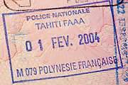 Passport page with the immigration control of French Polynesia stamp.