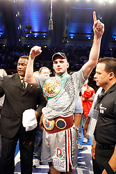 September 29, 2007; Atlantic City, NJ, USA; Undisputed middleweight champion Jermain Taylor celebrates after his bout against Kelly Pavlik at Boardwalk Hall in Atlantic City, New Jersey.