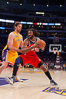 22 March 2013: Center (42) Nene of the Washington Wizards drives to the basket while being guarded by Pau Gasol of the Los Angeles Lakers during the second half of the Wizards 103-100 victory over the Lakers at the STAPLES Center in Los Angeles, CA.