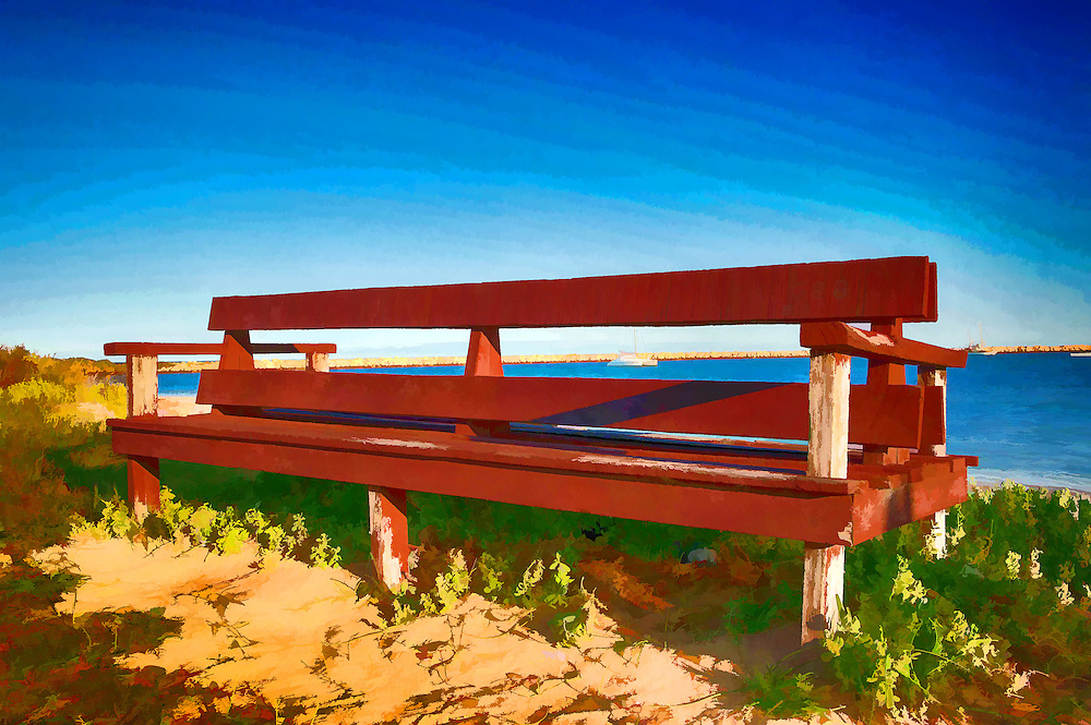 Digital Painting of Wooden Beach by the beach