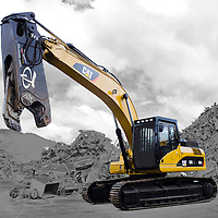 Cat, Track machine, digger, cutting arm, crusher